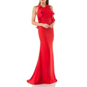 Carmen Marc Valvo Influsion Halter Gown Dress
